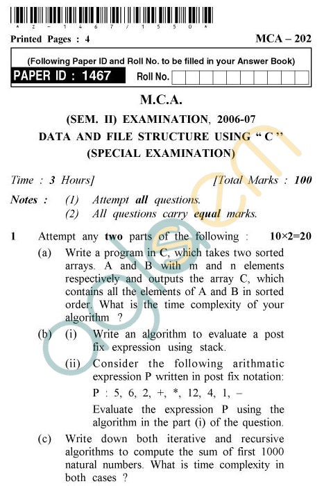 "UPTU MCA Question Papers - MCA-202 - Data And File Structure Using :""C"" (Special Examination)"