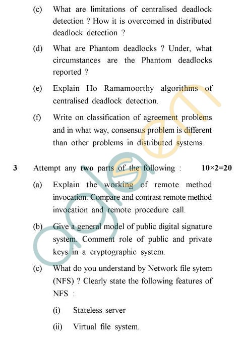 UPTU B.Tech Question Papers - CS-801 - Distributed System