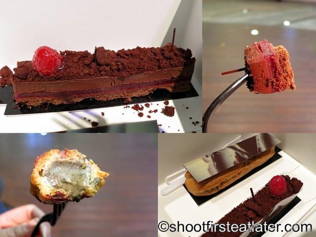 Vero Chocolates- chocolate raspberry tart, hazelnut & black sesame eclair