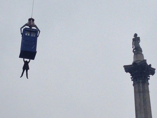 Stunt Doctor and the TARDIS high above Trafalgar Square