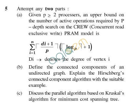 UPTU B.Tech Question Papers - CS-052-Parallel Algorithm