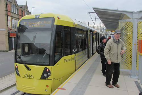 Rochdale tram station, disembarking