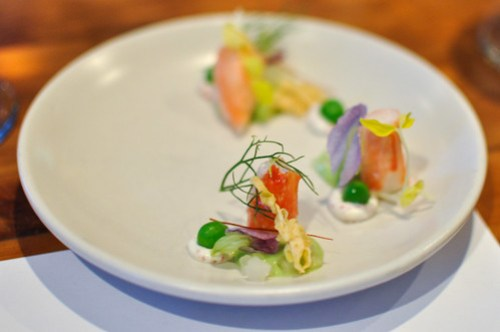 king crab, pea variations, wild fennel, chili threads