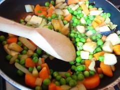 Seitan stew howto: sauté vegetables