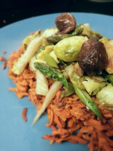 root vegetable hash with brussel sprout, asparagus, fennel, and shiitake mushrooms by pipsyq