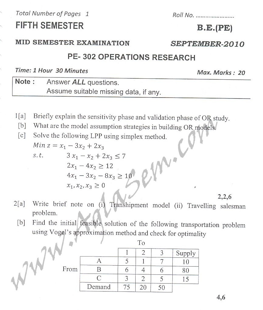 DTU Question Papers 2010 – 5 Semester - Mid Sem - PE-302