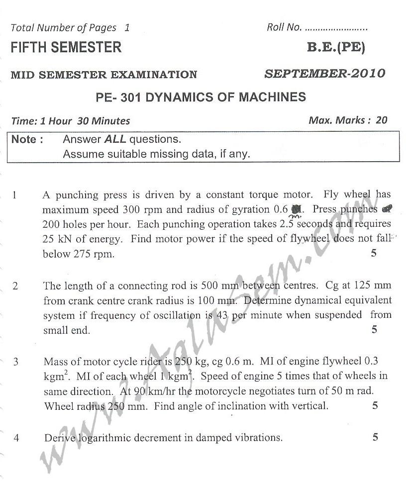DTU Question Papers 2010 – 5 Semester - Mid Sem - PE-301