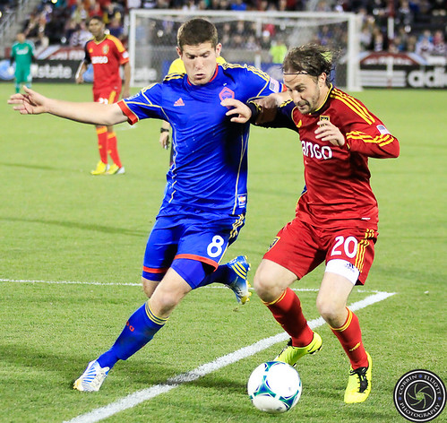 Dillon Powers (Rapids), Ned Grabavoy (RSL), Colorado Rapids vs Real Salt Lake Apr. 6th 2013 by Corbin Elliott Photography