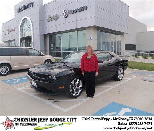 Dodge City of McKinney would like to say Congratulations to Theresa Woodrum on the 2013 Dodge Challenger by Dodge City McKinney Texas
