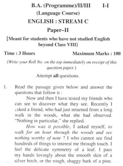 DU SOL B.A. Programme Question Paper - English C - Paper IX