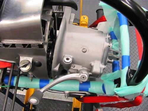 Transmission Tipped Up 45 Degrees Inside Frame