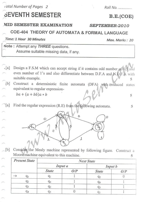 DTU Question Papers 2010 – 7 Semester - Mid Sem -  COE-404
