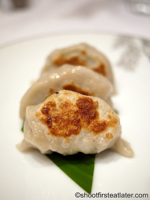 """Red Lantern @ Solaire- Shanghai pork dumplings with chives """"Wo Tie"""""""