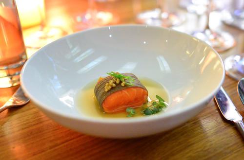 soba wrapped ocean trout buckwheat groats, ginger -shiso dashi