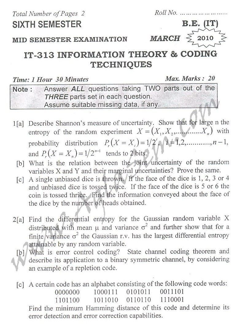 DTU Question Papers 2010 – 6 Semester - Mid Sem - IT-313