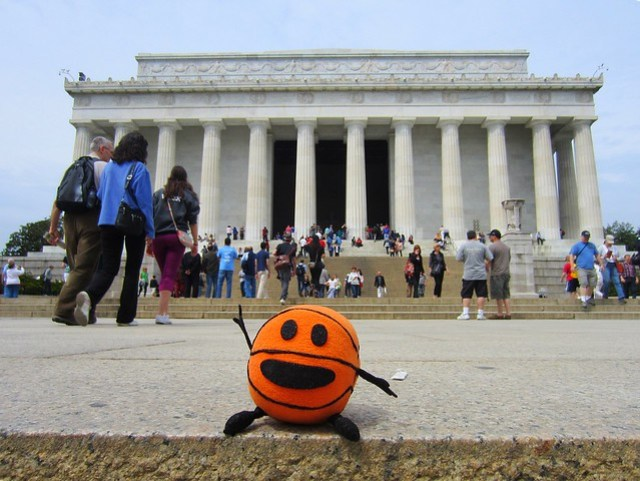 Bally at the Lincoln Memorial