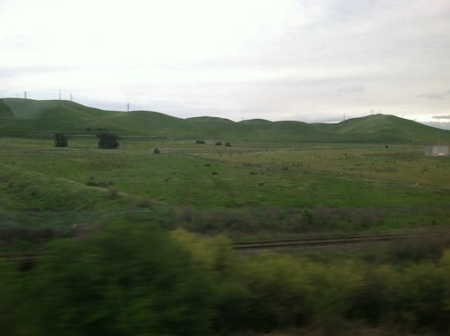 Green hills going north on Amtrak