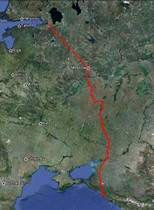 Our route from Sochi to St Petersburg by train