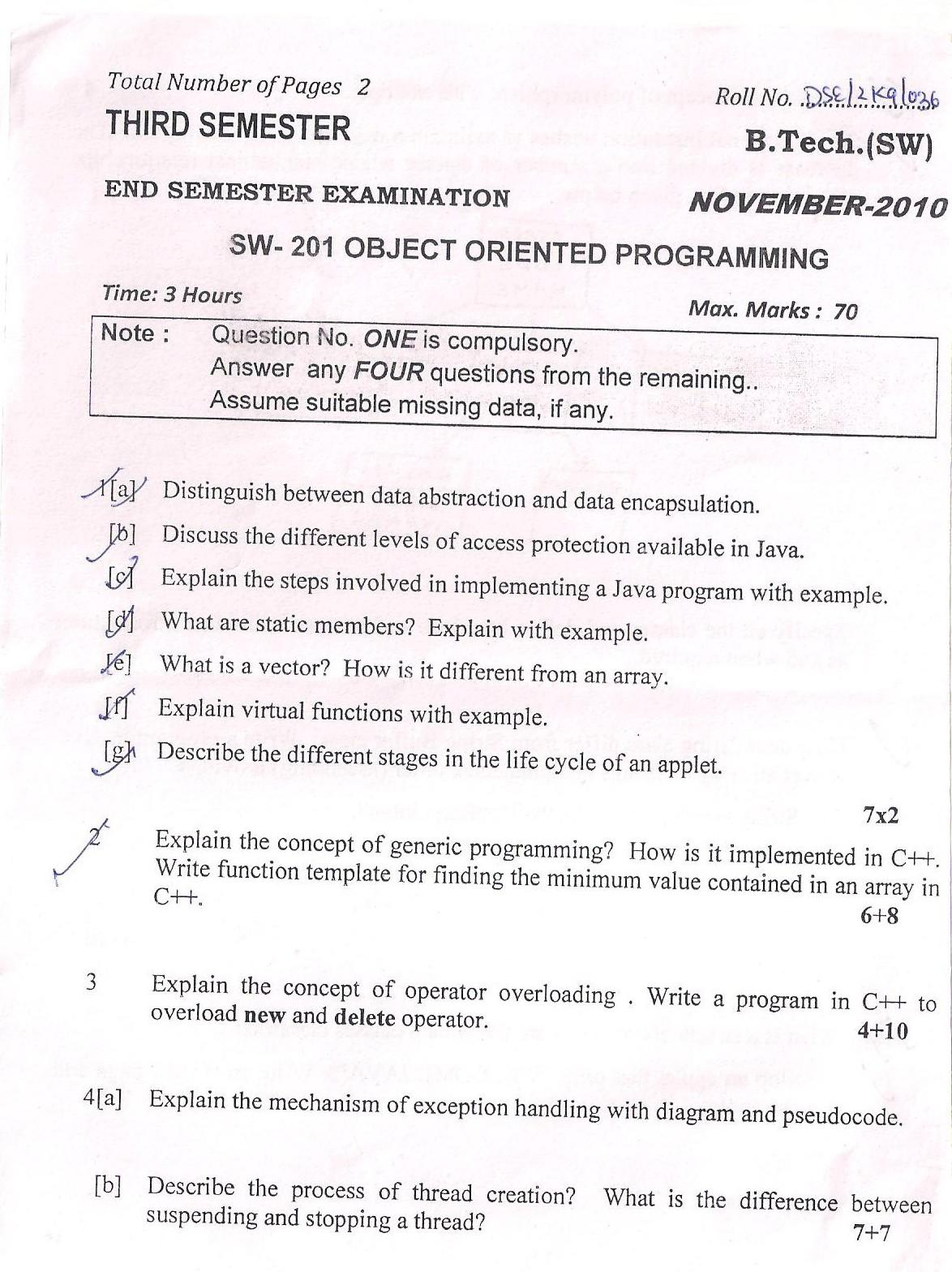 DTU Question Papers 2010 – 3 Semester - End Sem - SW-201