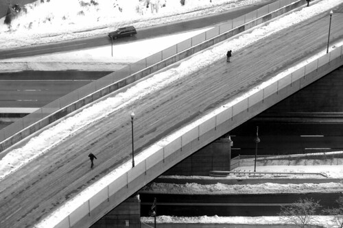 Winter I-95 Overpass B&W