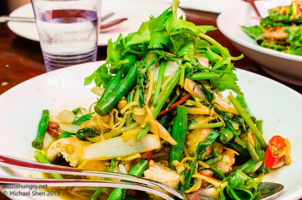 Atom Thai crispy Barramundi w/Thai celery - barramundi fillet, light batter, golden fried, Asian celery, salty bean, fresh chilli, ginger, stir fried