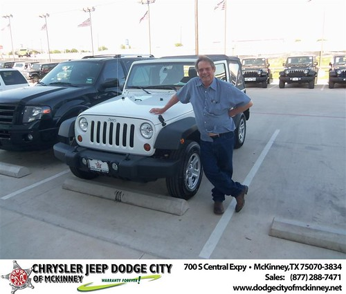 Dodge City of McKinney would like to say Congratulations to Mel Turner on the 2013 Jeep Wrangler by Dodge City McKinney Texas