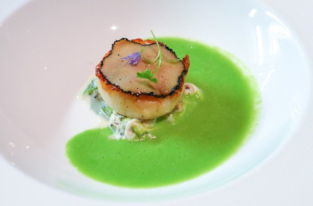 Sautéed New Bedford Scallops Dungeness crab, hearts of romaine, English peas, summer truffles