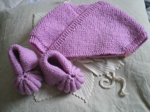 tricot facile cache-coeur chaussons