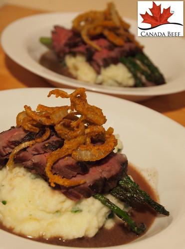 Chef John Placko's 48-hour Bavette w/ Parsley Gel Mash, Seared Asparagus & Spicy Crisp Onion Strings
