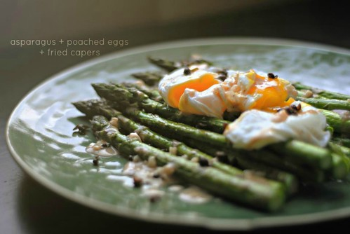 asparagus + poached eggs + fried capers