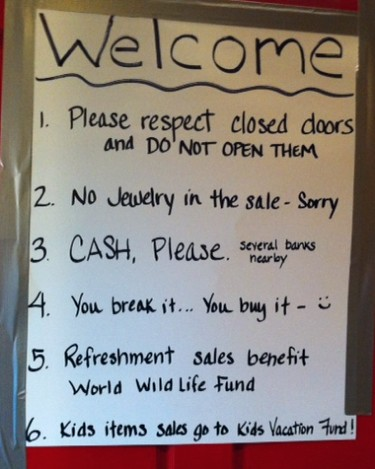 Estate sale rules