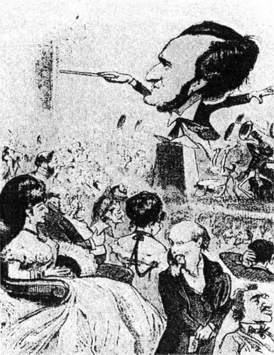 Das Judenthum in der Musik, wie es Richard Wagner gefällt – wenn es nämlich 25 Gulden für einen Fauteuil bezahlt. Karikatur in Kikeriki, 1872