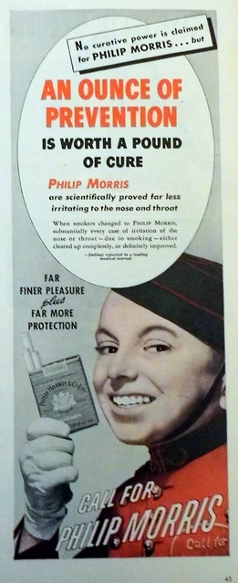 """An old cigarette ad with the title """"An Ounce of Prevention"""""""