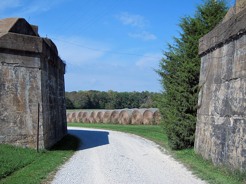 Abandoned abutments to never-built railroad bridge