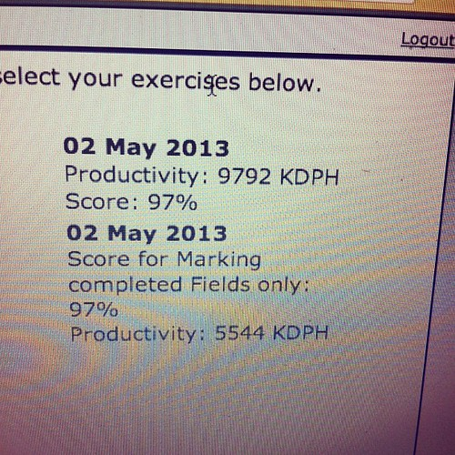 Okay. Well KDPH (key depressions per hour) has dropped but I think that's because of it being the row at the top rather than a keypad.