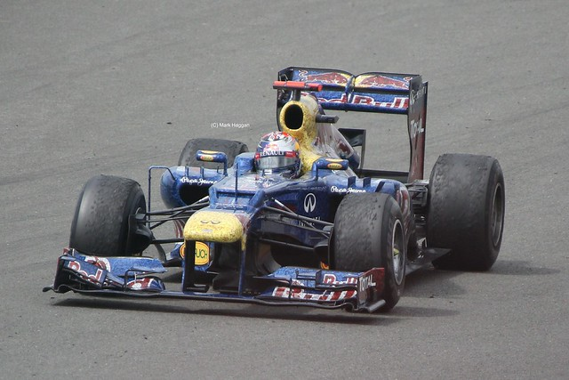 Red Bull Racing driver Sebastian Vettel at the 2012 British Grand Prix at Silverstone