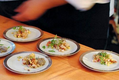 Stephan Pyles (Stephan Pyles) scallop escabeche, red corn, spiced chicharron, huitlacoche foam