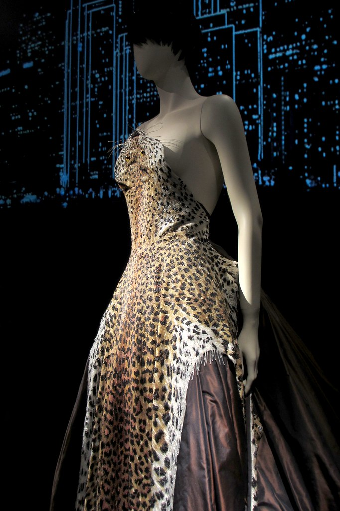 Leopard Skin beaded evening gown with rhinestone claws, Russia collection, haute couture FW 1997-1997.