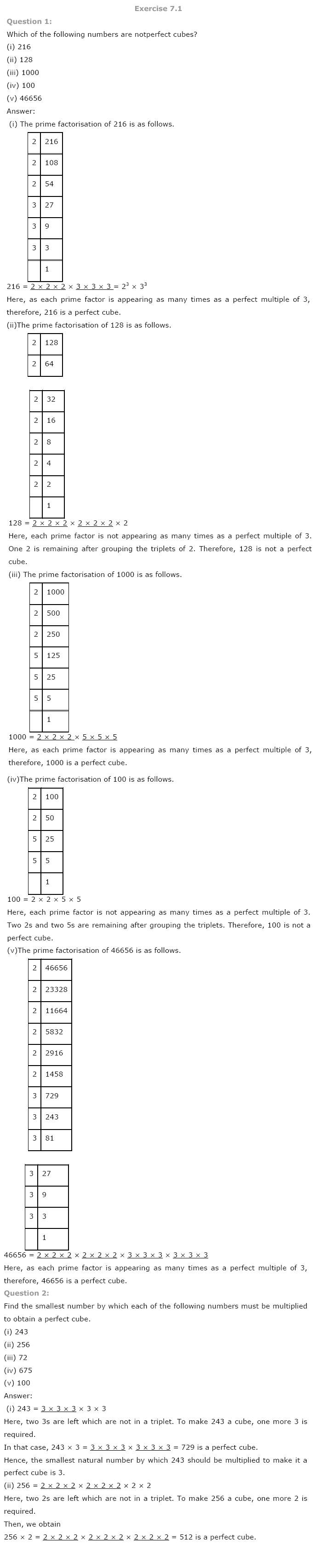 Class 8th NCERT Maths Solutions Cubes and Cube Roots