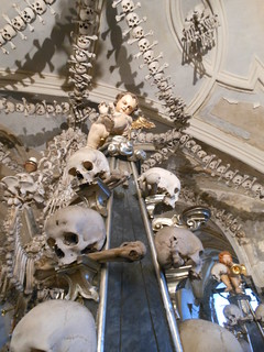 Cupid with bones in the ossuary near Kutna Hora