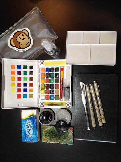 My travel watercolor sketchbook kit