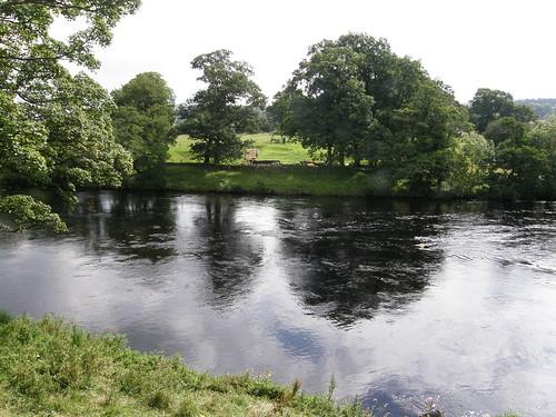 River Tyne - Roman bridge abutment and continuing Wall just visible