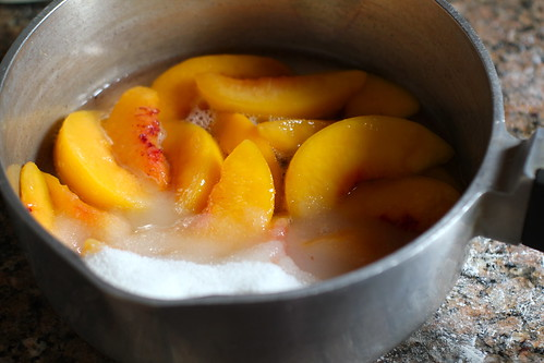 peaches, sugar, lemon juice, water