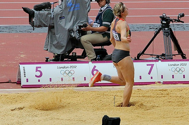 Julia Machtig of Germany in the long jump during the heptathlon at the London 2012 Olympics