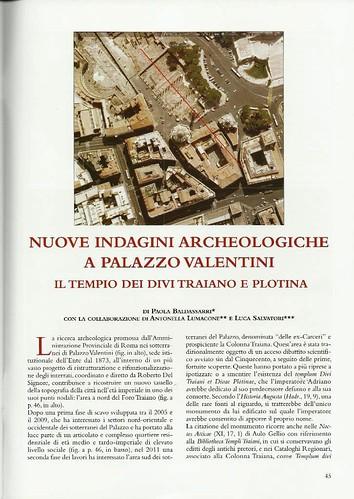 ROMA ARCHEOLOGIA: P. Baldassarri: Nuove indagini archeologiche a Palazzo Valentini. Il tempio dei Divi Traiano e Plotina. FORMA VRBIS Anno. XVII / n. 5, Maggio 2012, pp. 45-52. by Martin G. Conde