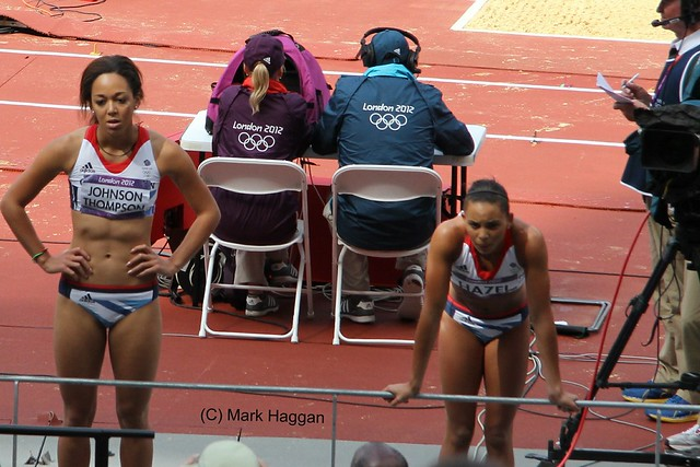 British heptathletes Katarina Johnson Thompson and Louise Hazel at the London 2012 Olympics