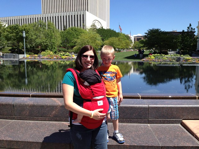 Me and my little boys in Temple Square.  We are looking at the Temple.  The church office building is what you see behind us.