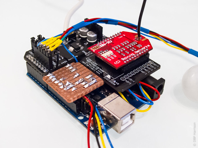 Arduino R3 with DFRobot Xbee  shield, RNXV and a few custom bits.