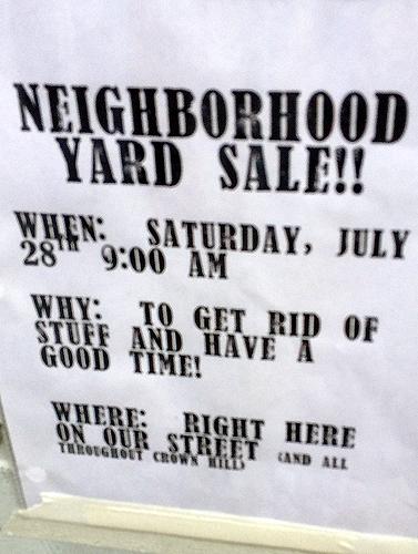 The 3 W's of the neighborhood yard sale