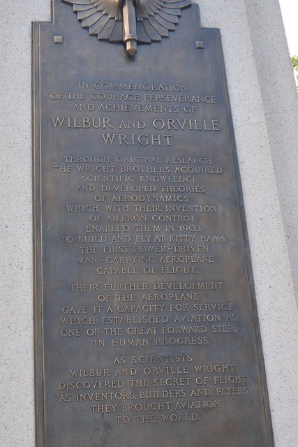 Plaque on Wright Brothers Memorial